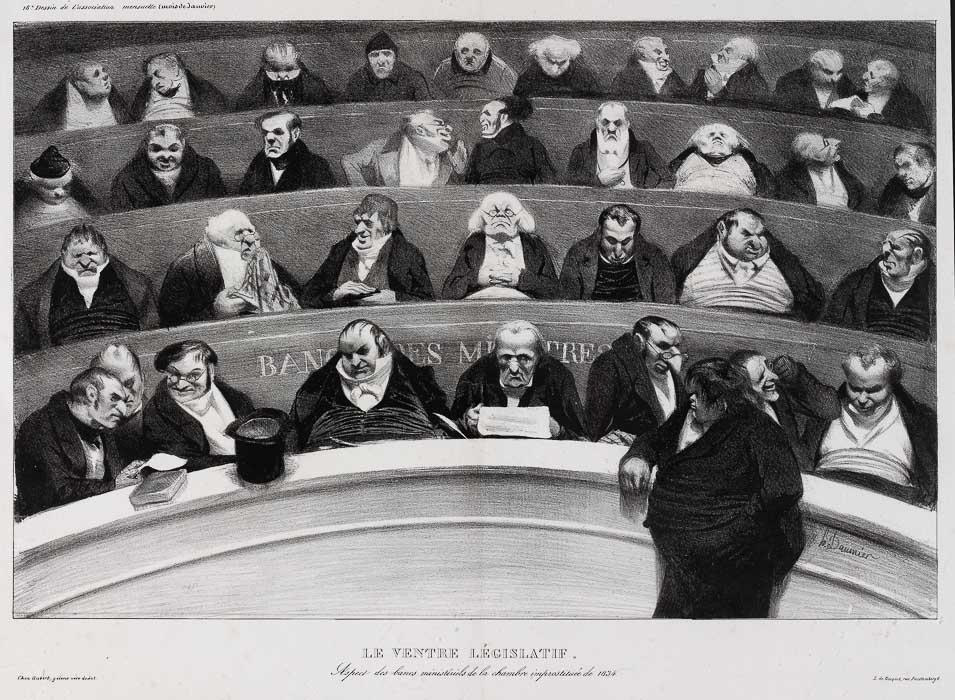 DER GESETZGEBENDE BAUCH. Ansicht der regierungstreuen Bänke der Kammer von 1834.