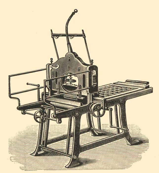 Lithografie-Kniehebelpresse.
